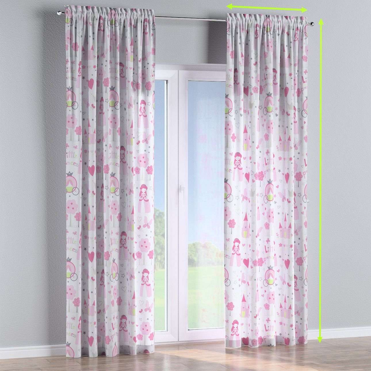 Slot and frill lined curtains in collection Little World, fabric: 141-28
