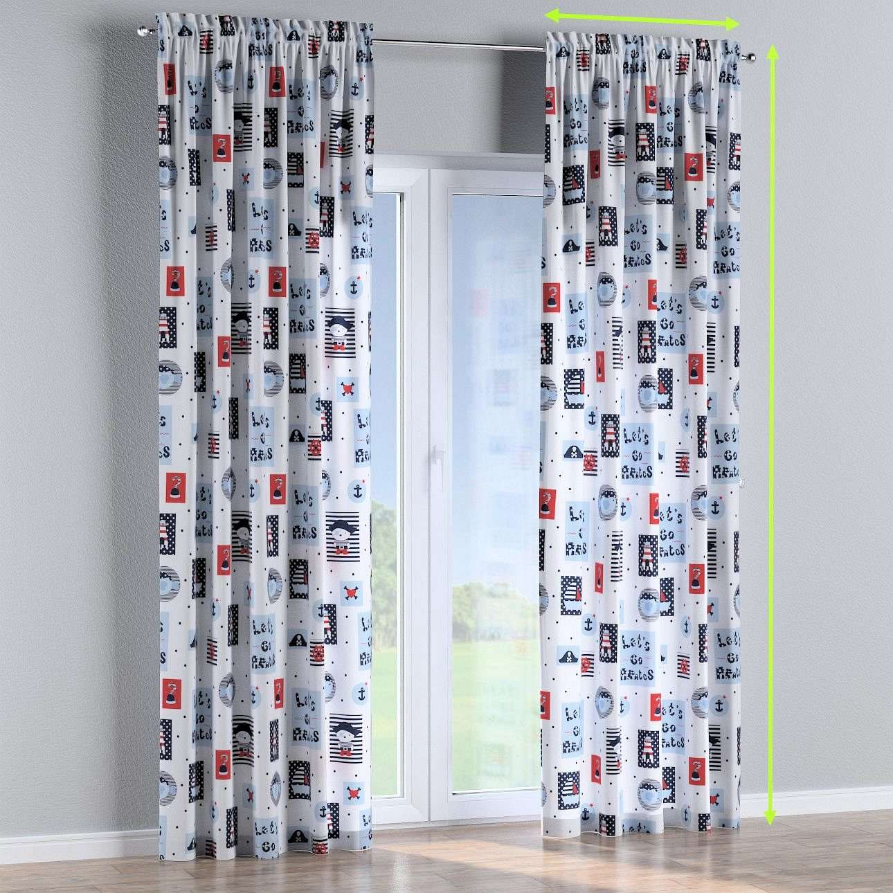 Slot and frill lined curtains in collection Little World, fabric: 141-29