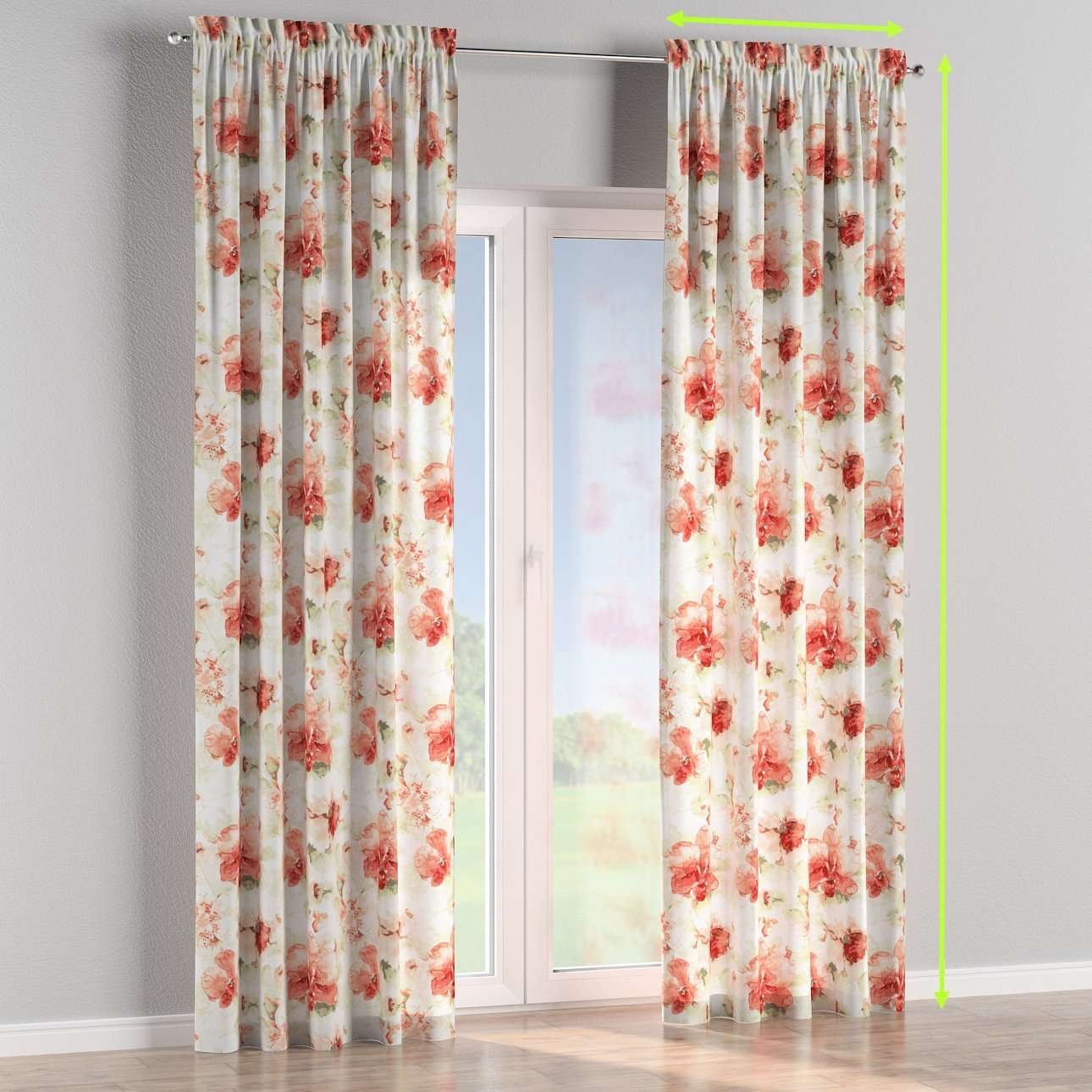 Slot and frill lined curtains in collection Acapulco, fabric: 141-34
