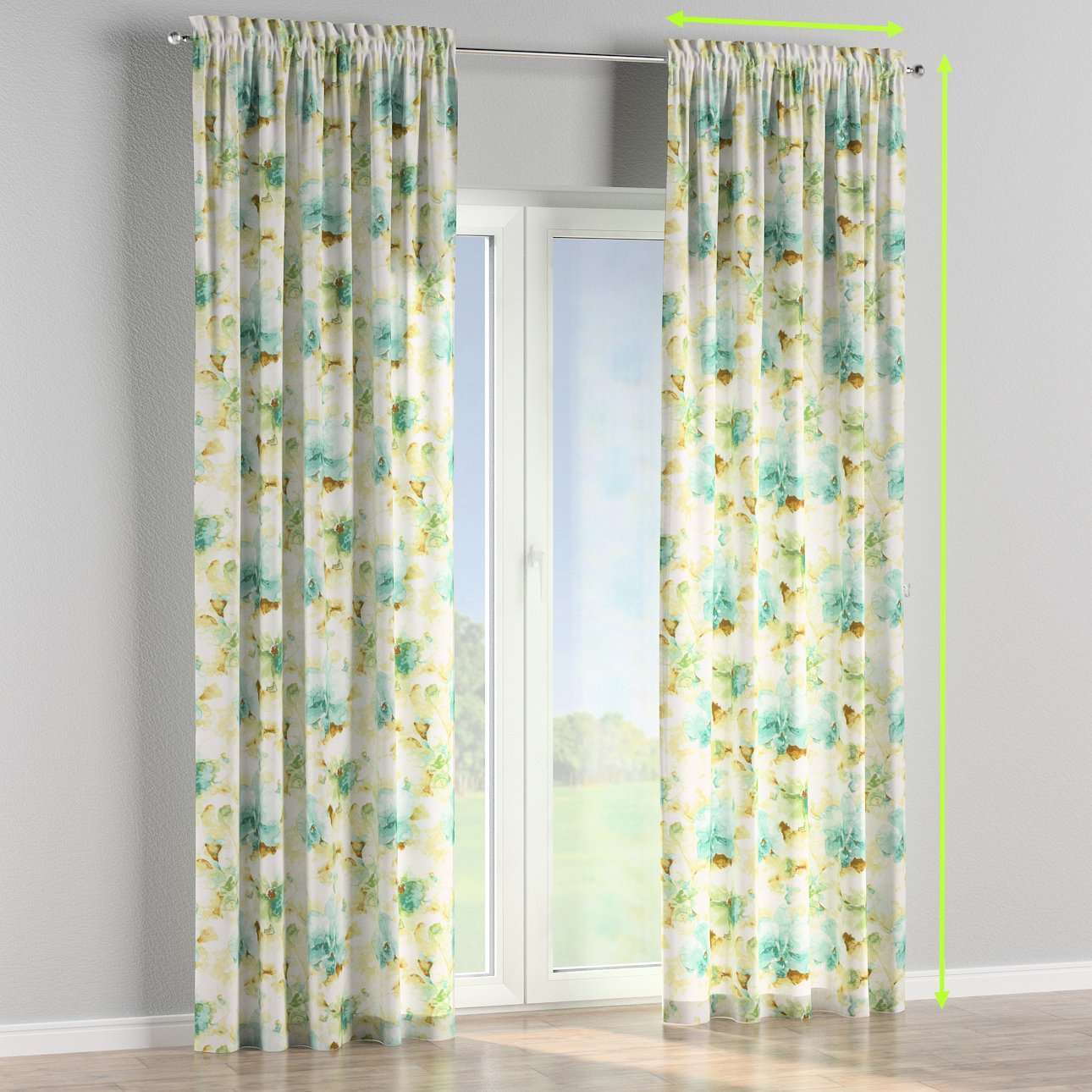 Slot and frill lined curtains in collection Acapulco, fabric: 141-35