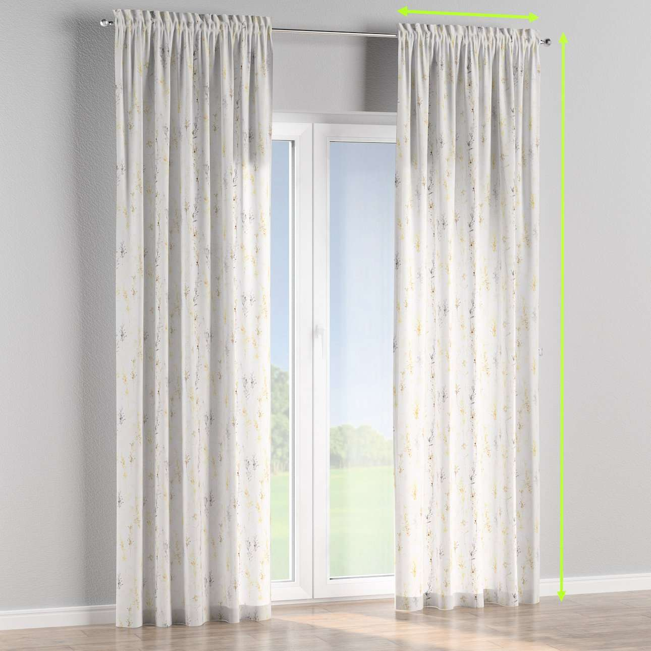 Slot and frill lined curtains in collection Acapulco, fabric: 141-36