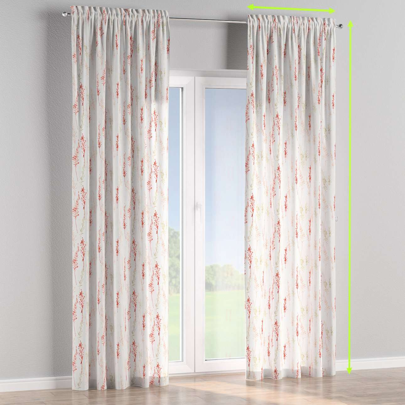 Slot and frill lined curtains in collection Acapulco, fabric: 141-37