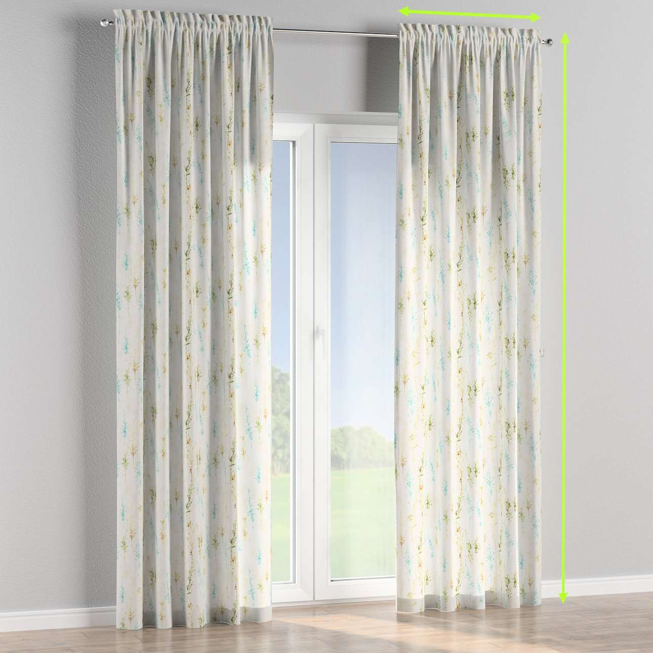 Slot and frill lined curtains in collection Acapulco, fabric: 141-38