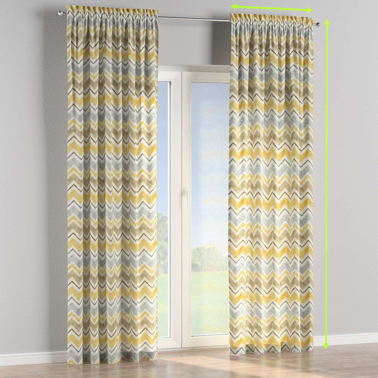 Slot and frill lined curtains in collection Acapulco, fabric: 141-39