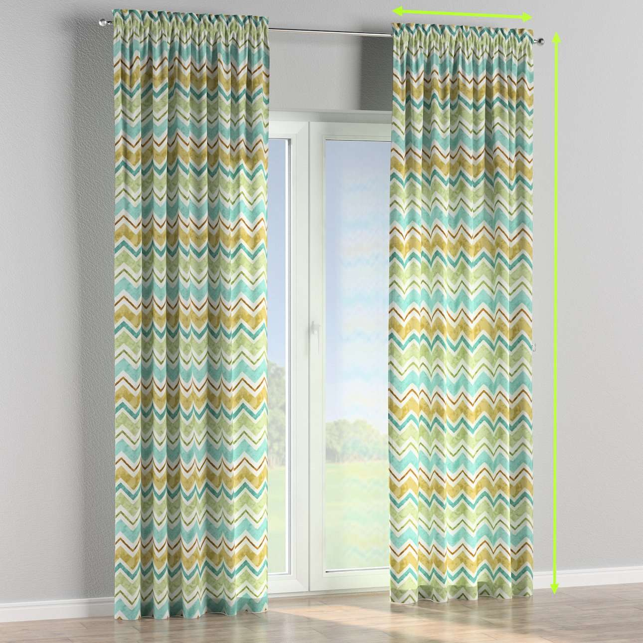 Slot and frill lined curtains in collection Acapulco, fabric: 141-41