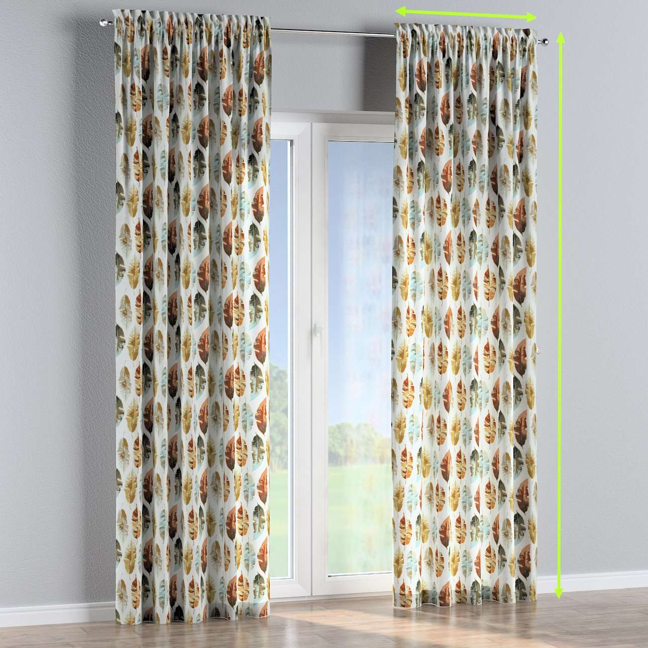 Slot and frill lined curtains in collection Urban Jungle, fabric: 141-43