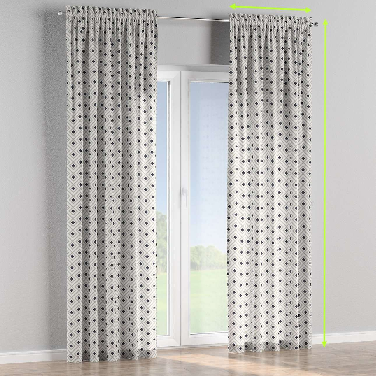 Slot and frill lined curtains in collection Geometric, fabric: 141-44