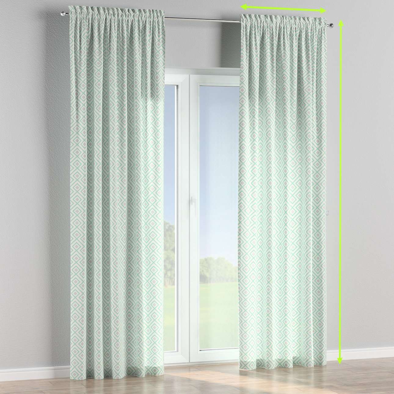 Slot and frill lined curtains in collection Geometric, fabric: 141-45