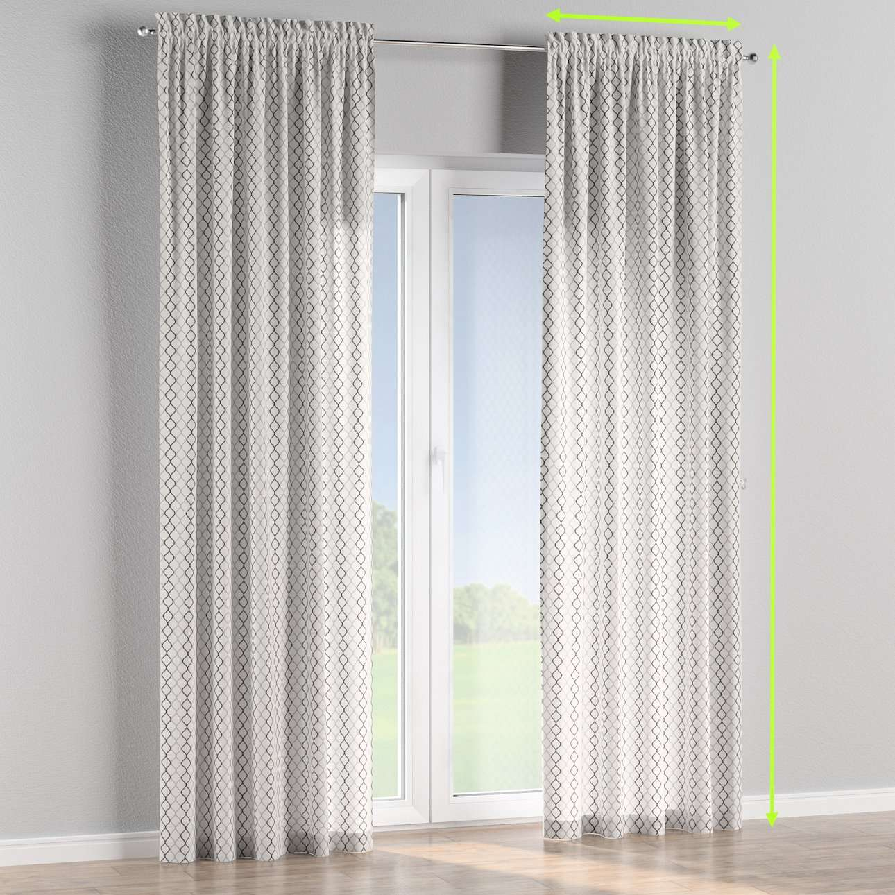 Slot and frill lined curtains in collection Geometric, fabric: 141-46