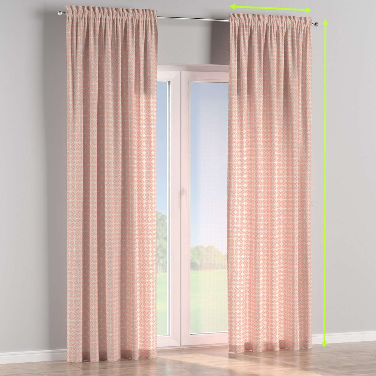 Slot and frill lined curtains in collection Geometric, fabric: 141-48