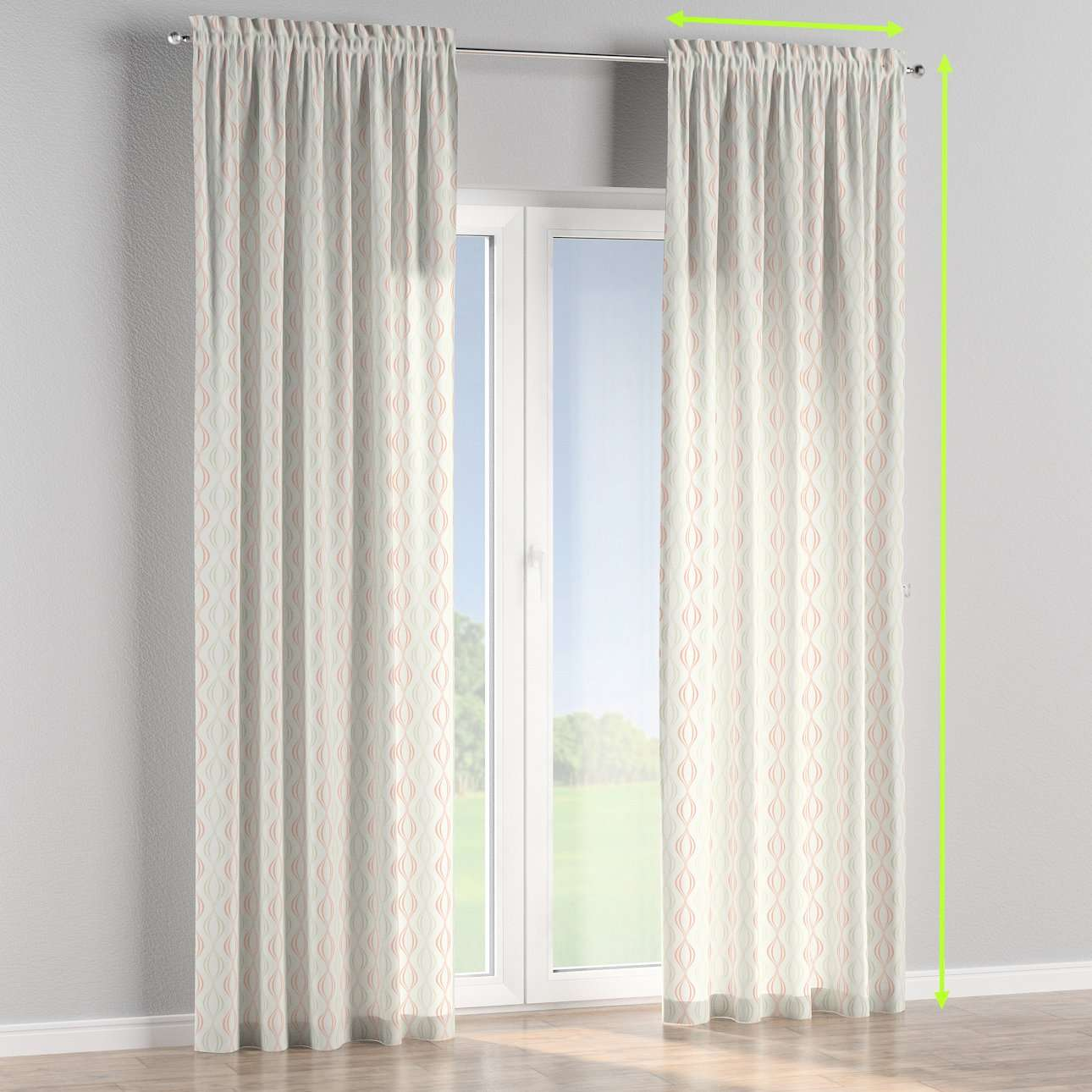 Slot and frill lined curtains in collection Geometric, fabric: 141-49