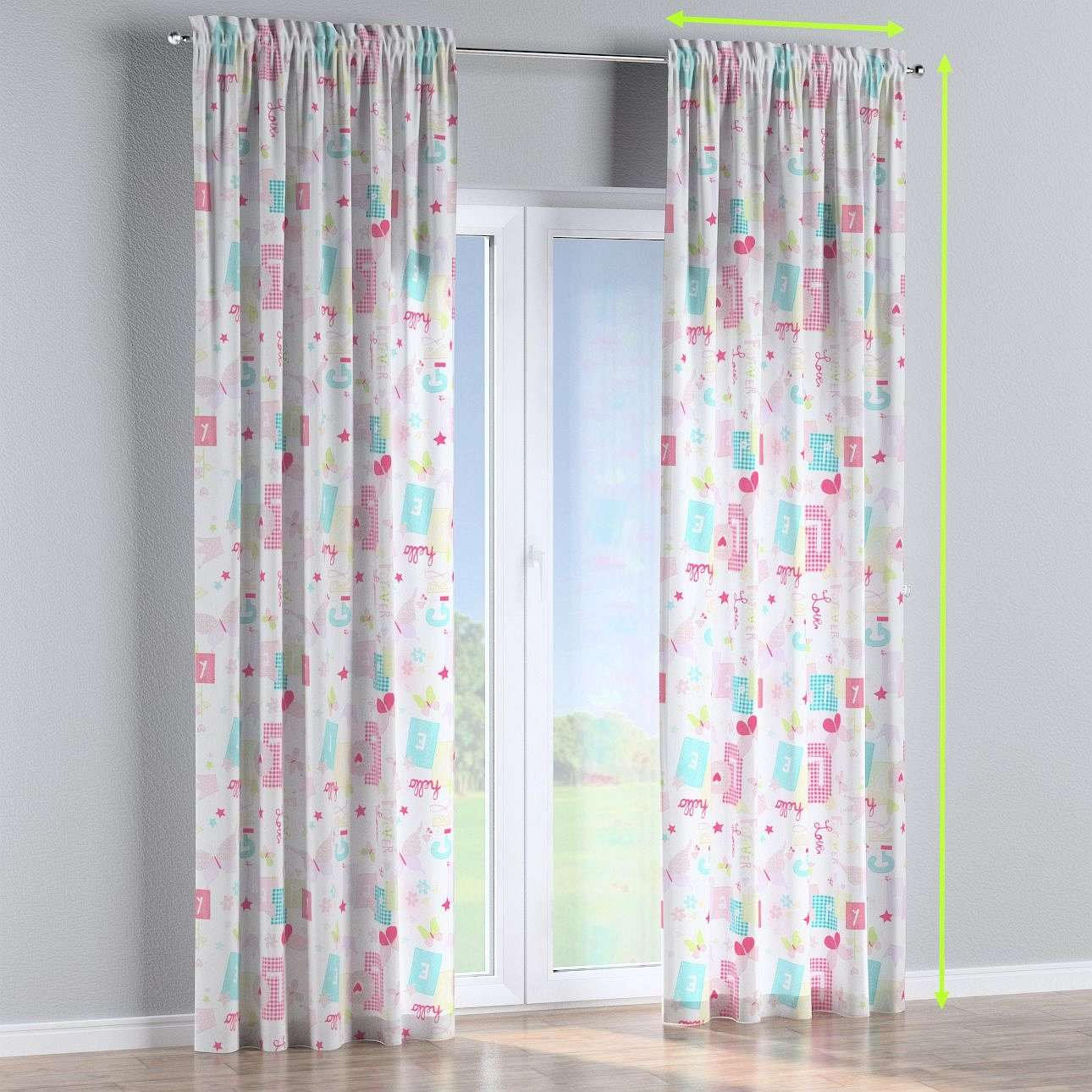 Slot and frill lined curtains in collection Little World, fabric: 141-51