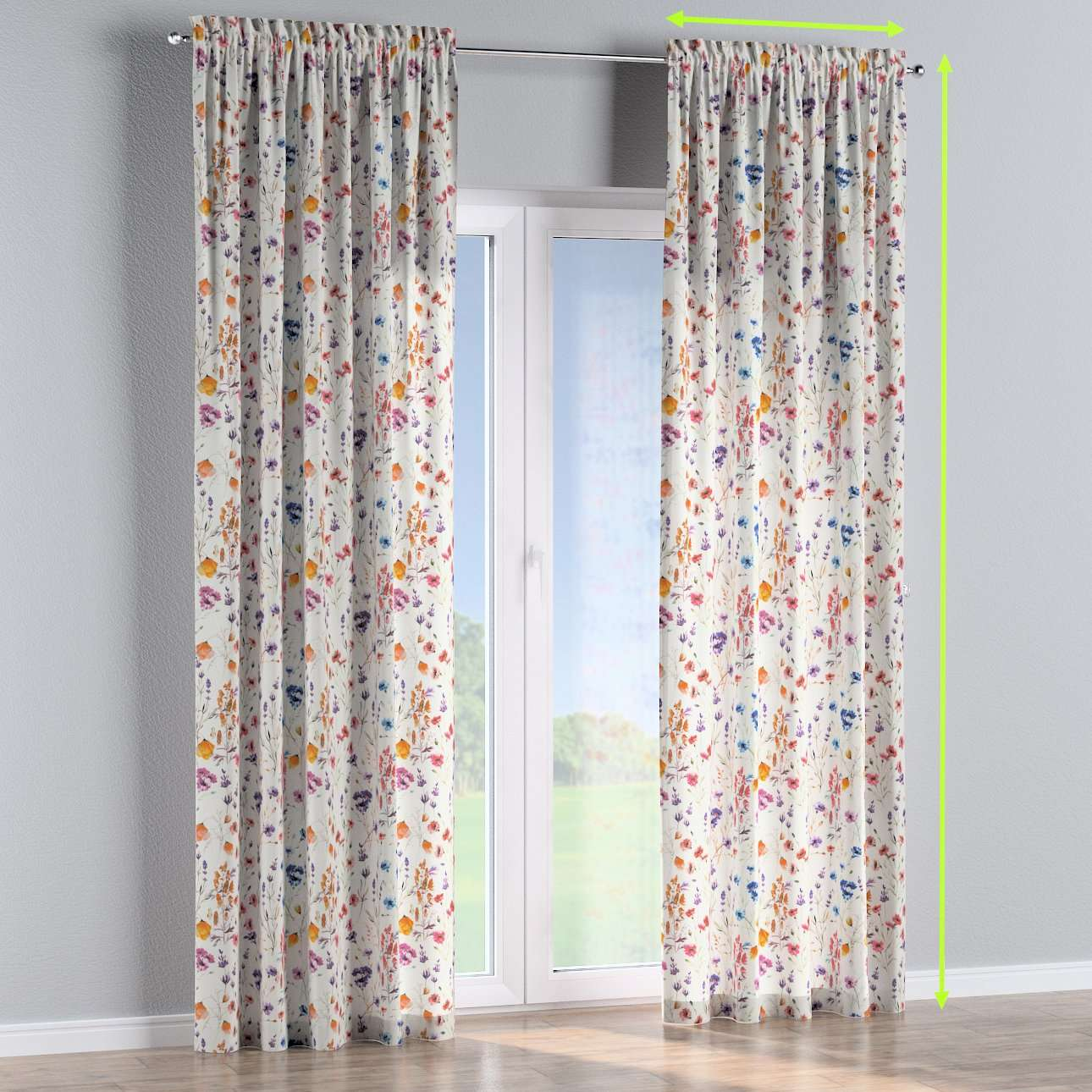 Slot and frill lined curtains in collection Flowers, fabric: 141-53