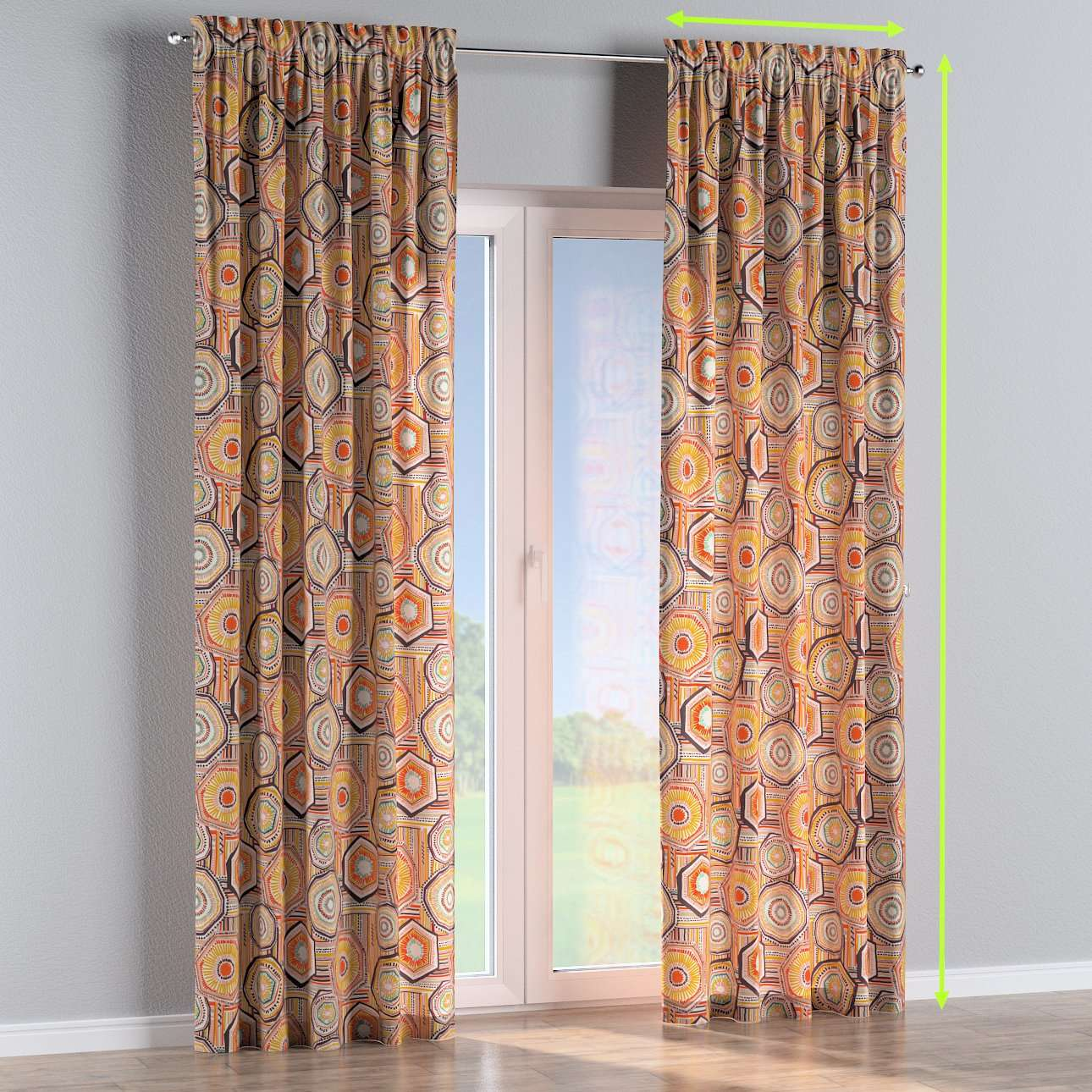 Slot and frill lined curtains in collection New Art, fabric: 141-55