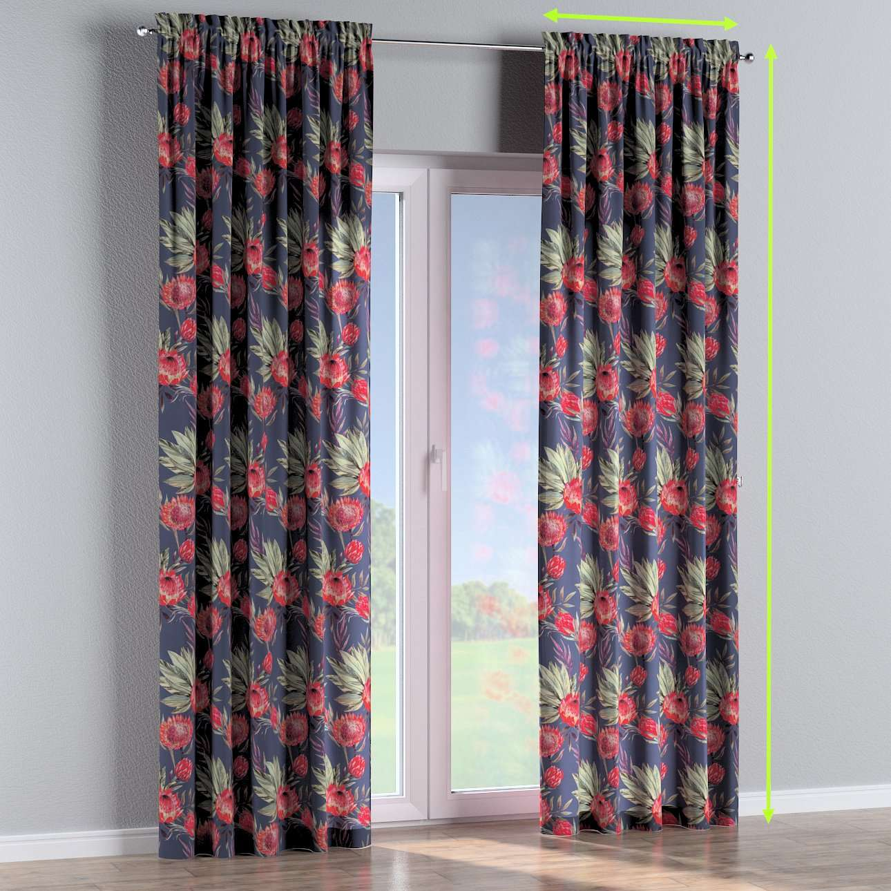 Slot and frill lined curtains in collection New Art, fabric: 141-57