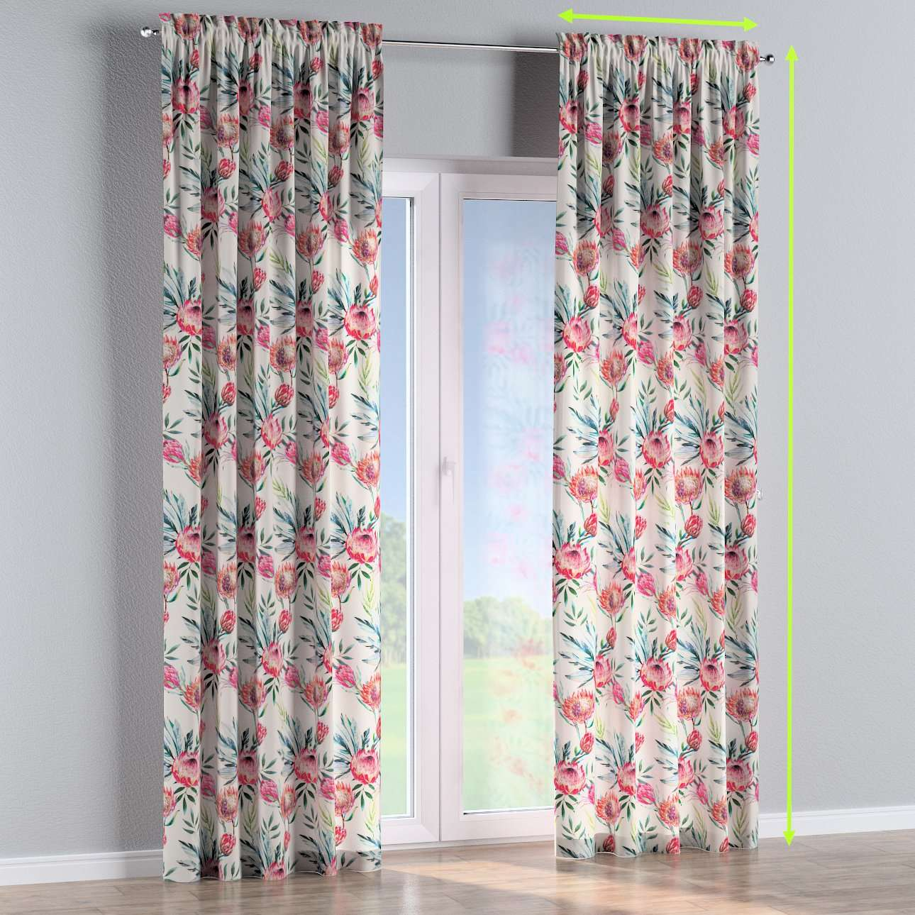 Slot and frill lined curtains in collection New Art, fabric: 141-59