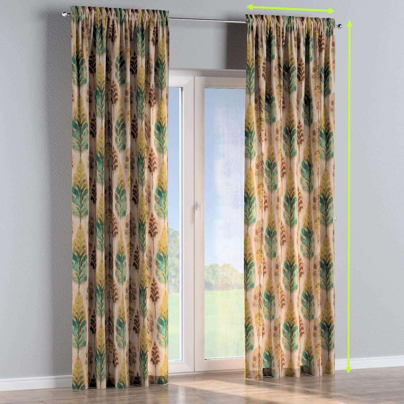 Slot and frill lined curtains in collection Urban Jungle, fabric: 141-60