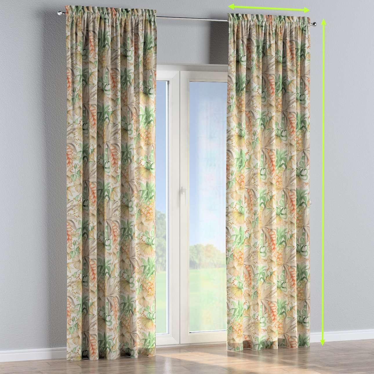 Slot and frill lined curtains in collection Urban Jungle, fabric: 141-61