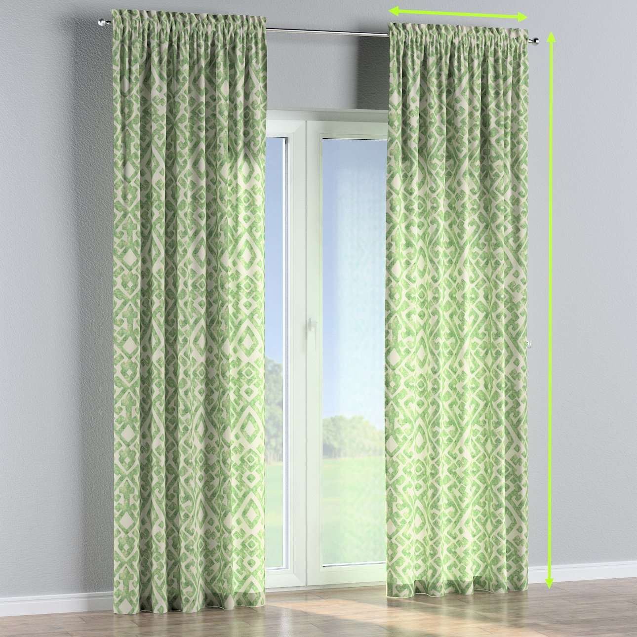 Slot and frill lined curtains in collection Urban Jungle, fabric: 141-62