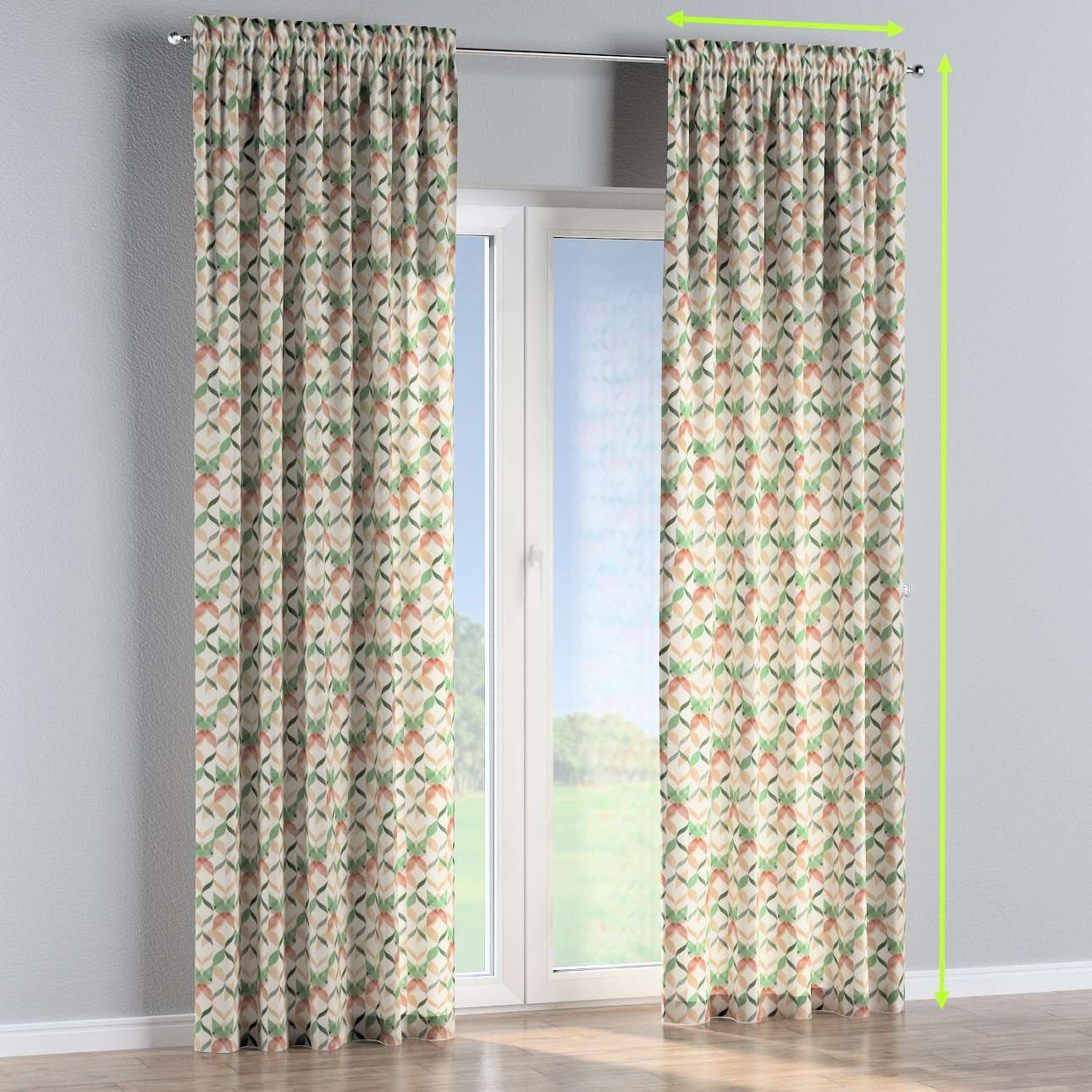 Slot and frill lined curtains in collection Urban Jungle, fabric: 141-64
