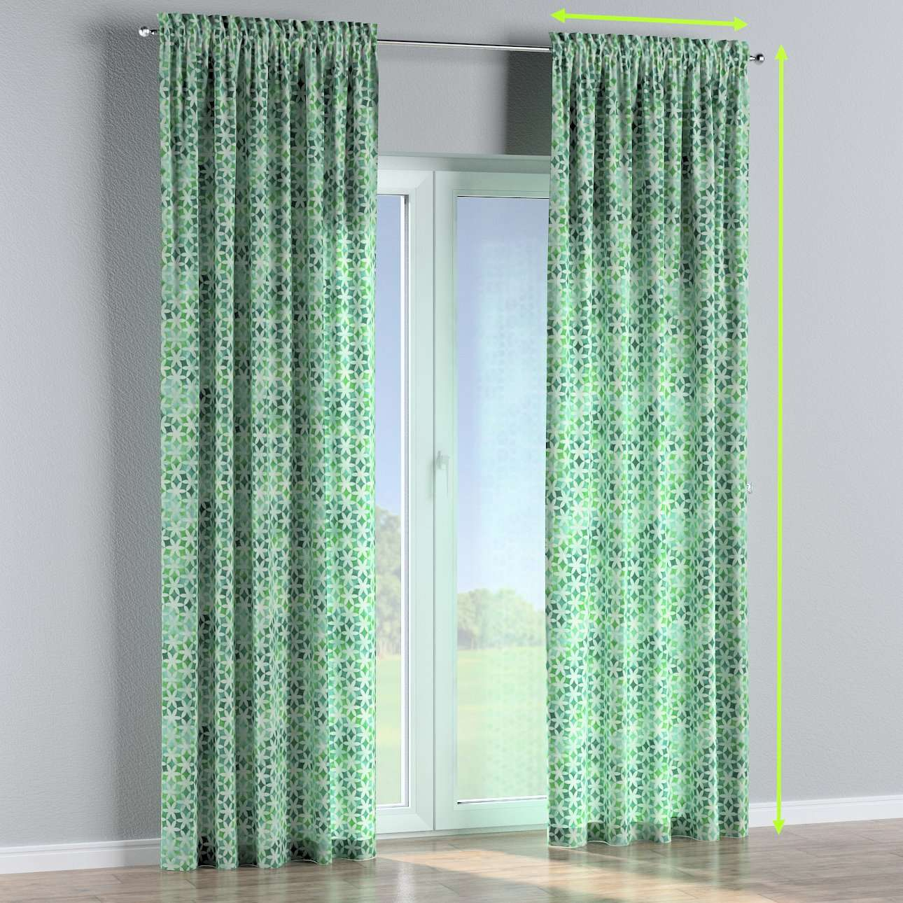 Slot and frill lined curtains in collection Urban Jungle, fabric: 141-65