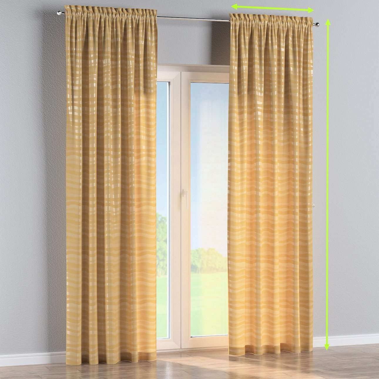 Slot and frill lined curtains in collection Damasco, fabric: 141-74