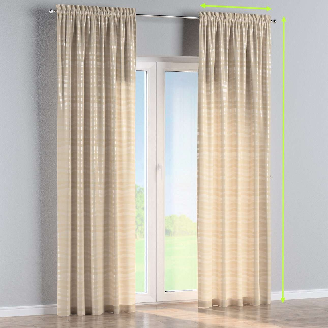 Slot and frill lined curtains in collection Damasco, fabric: 141-76