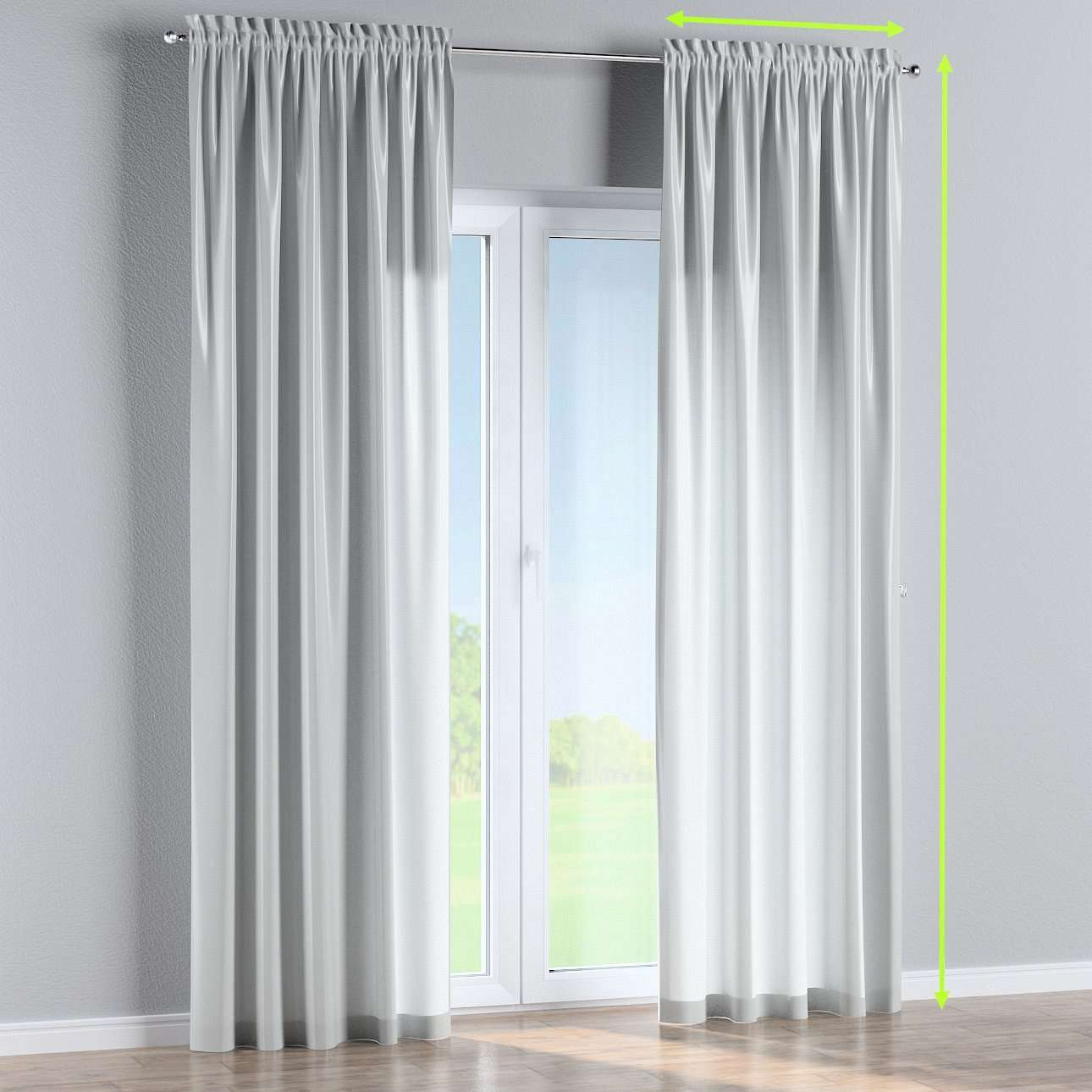 Slot and frill lined curtains in collection Damasco, fabric: 141-77