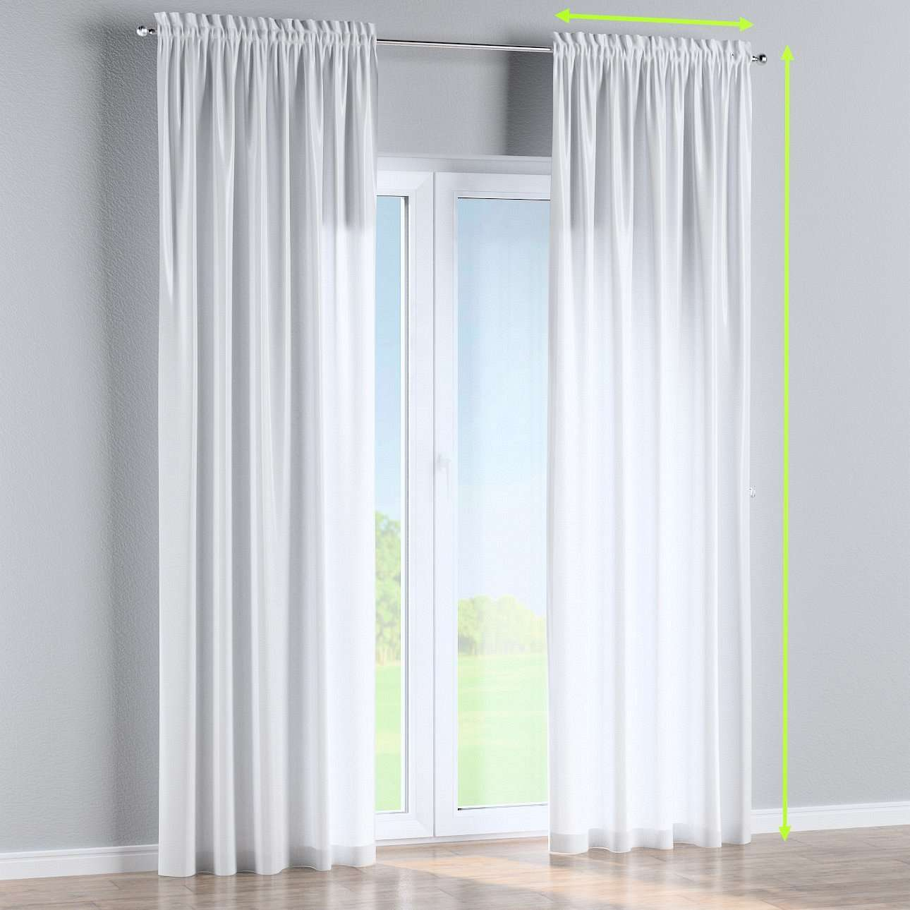 Slot and frill lined curtains in collection Damasco, fabric: 141-78