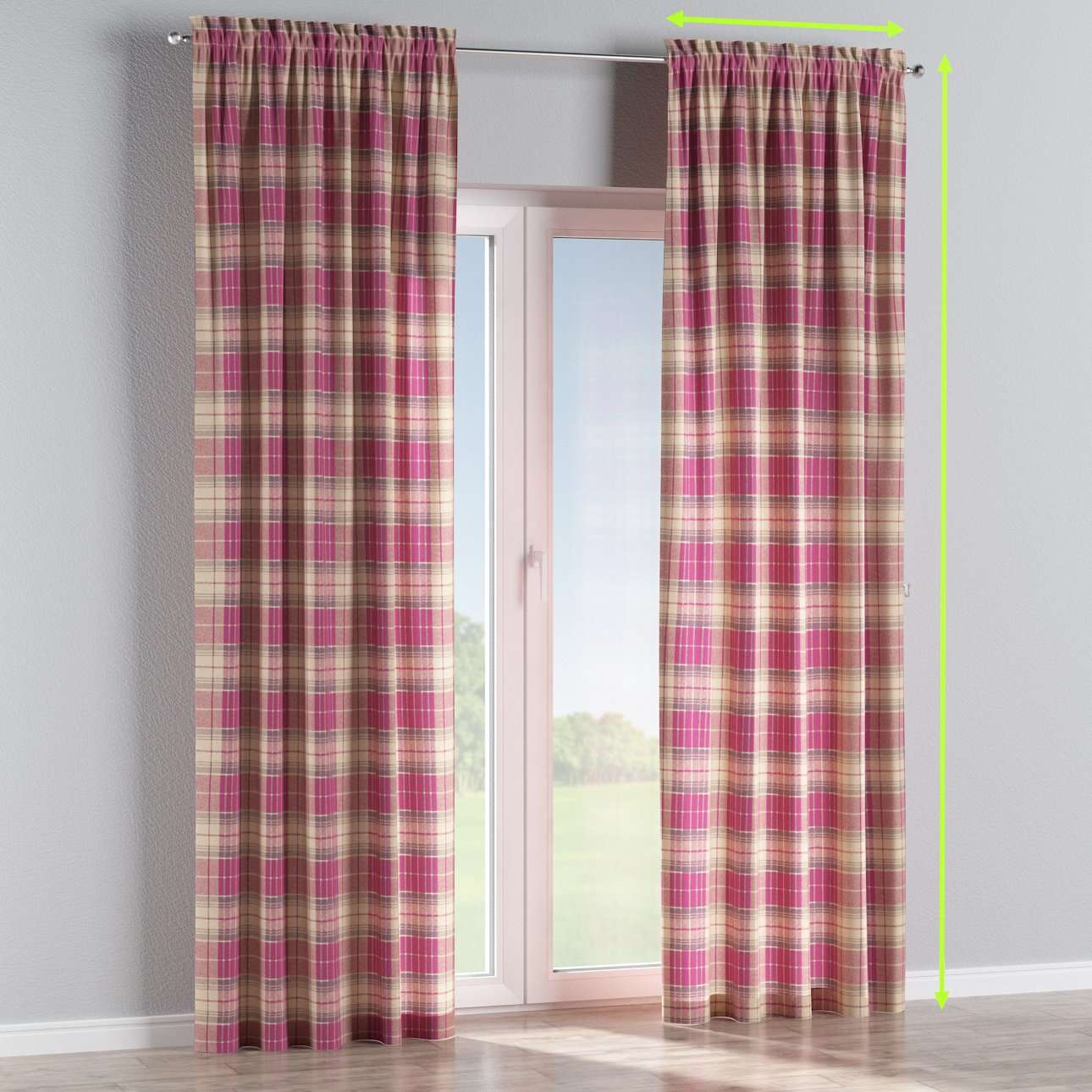 Slot and frill lined curtains in collection Mirella, fabric: 142-07