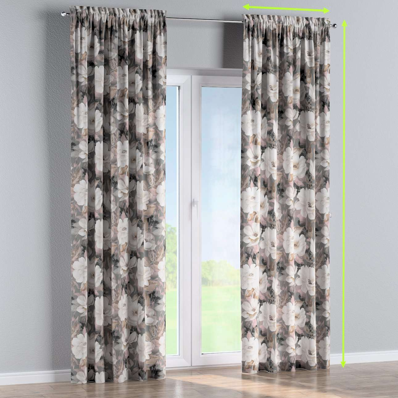 Slot and frill lined curtains in collection Gardenia, fabric: 142-13