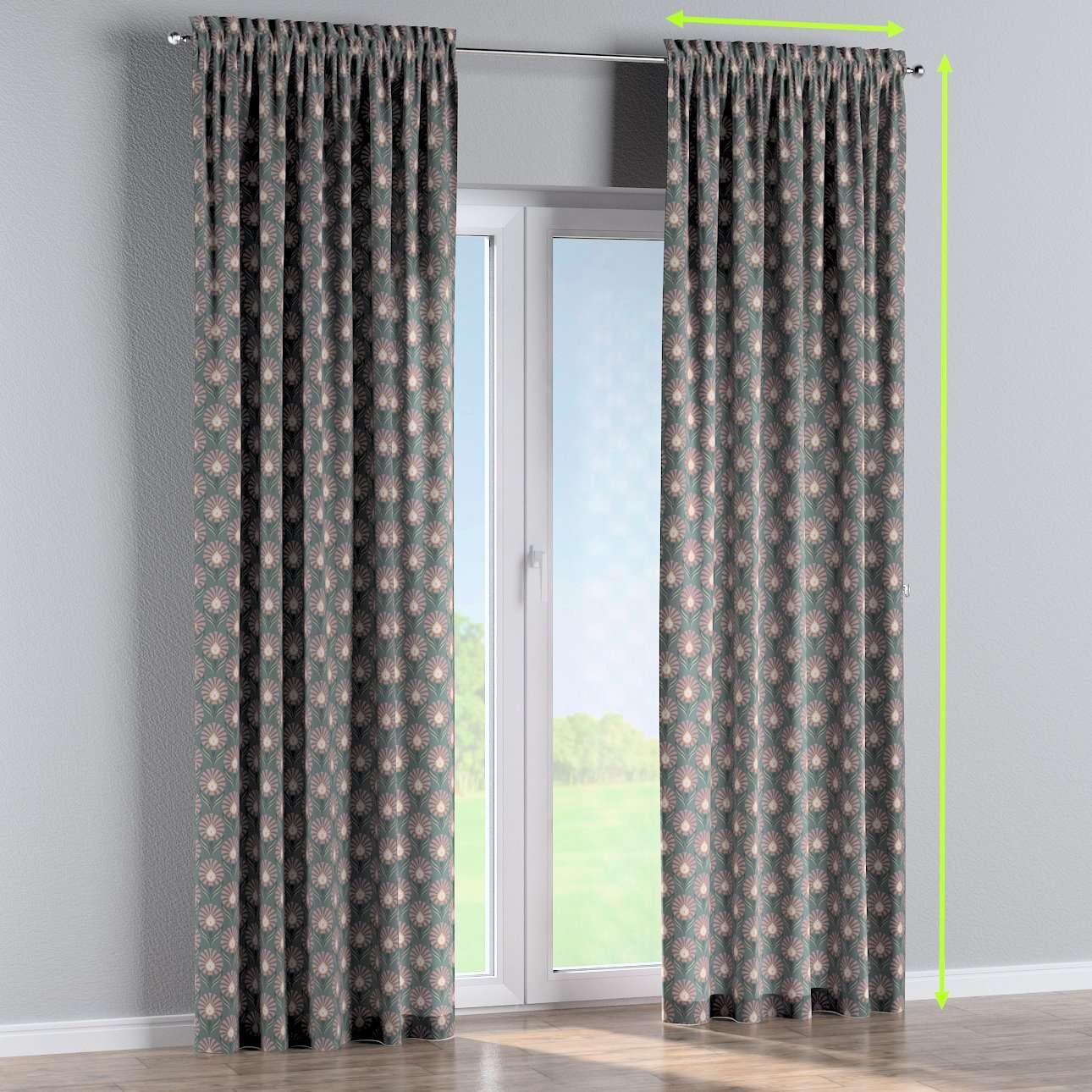 Slot and frill lined curtains in collection Gardenia, fabric: 142-17