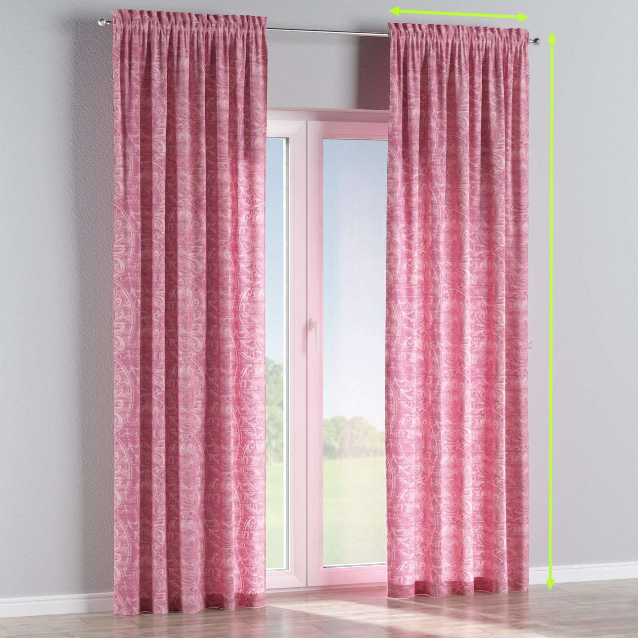 Slot and frill lined curtains in collection Mirella, fabric: 143-07