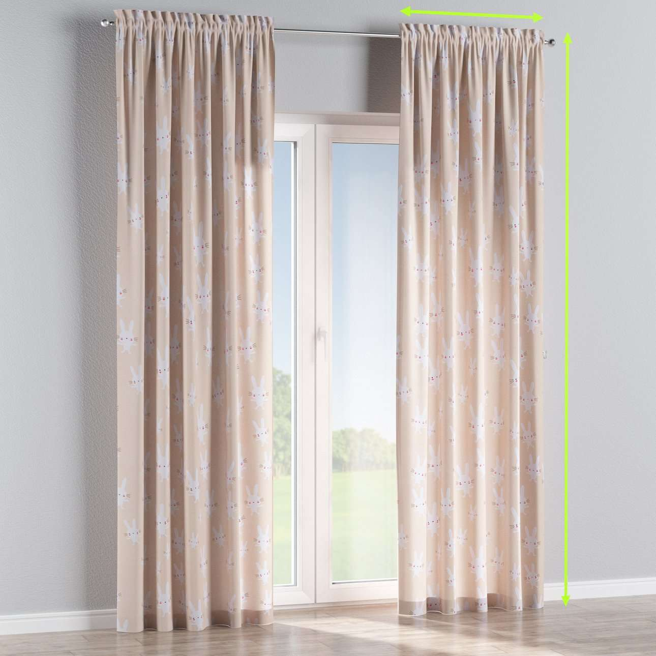 Slot and frill lined curtains in collection Apanona, fabric: 151-00