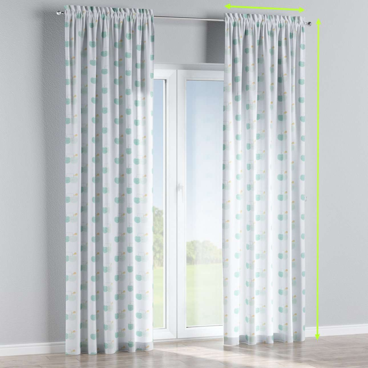 Slot and frill lined curtains in collection Apanona, fabric: 151-02