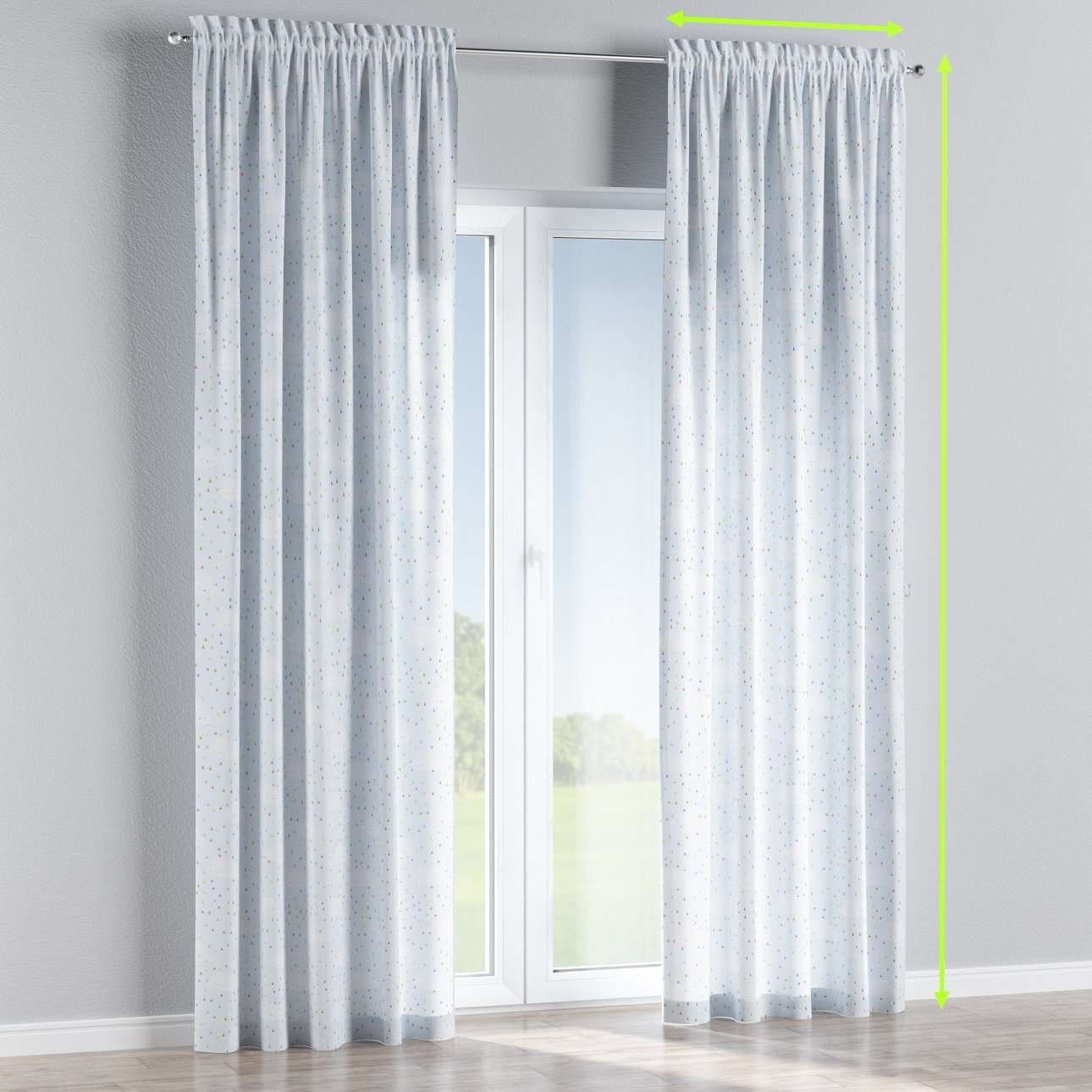 Slot and frill lined curtains in collection Apanona, fabric: 151-03