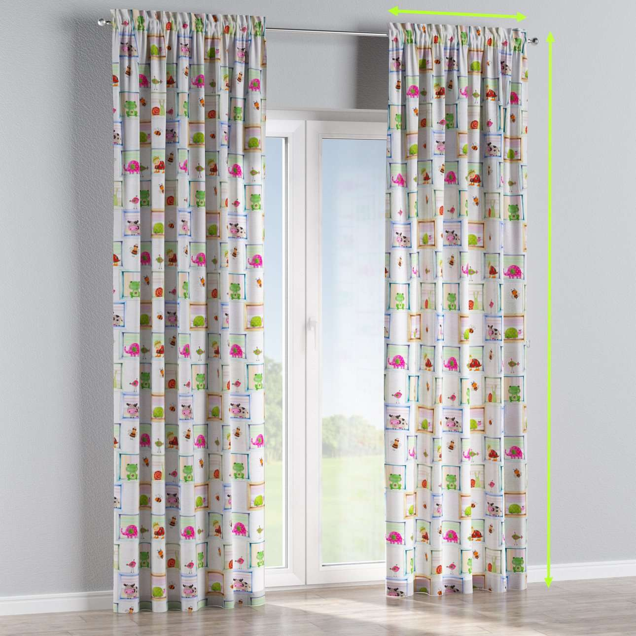 Slot and frill lined curtains in collection Apanona, fabric: 151-04