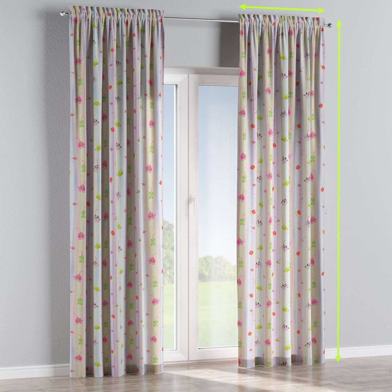 Slot and frill lined curtains in collection Apanona, fabric: 151-05