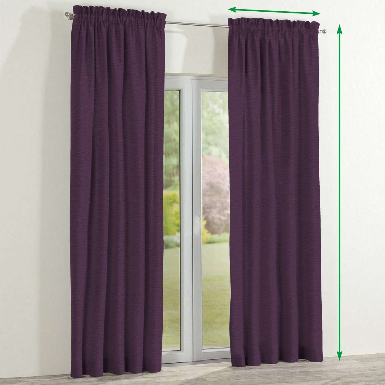 Slot and frill lined curtains in collection Chenille, fabric: 160-46