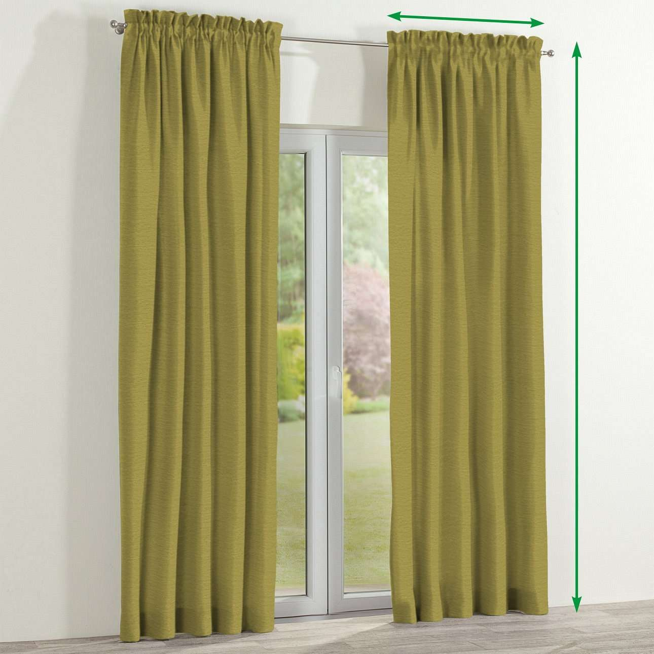 Slot and frill lined curtains in collection Chenille, fabric: 160-47