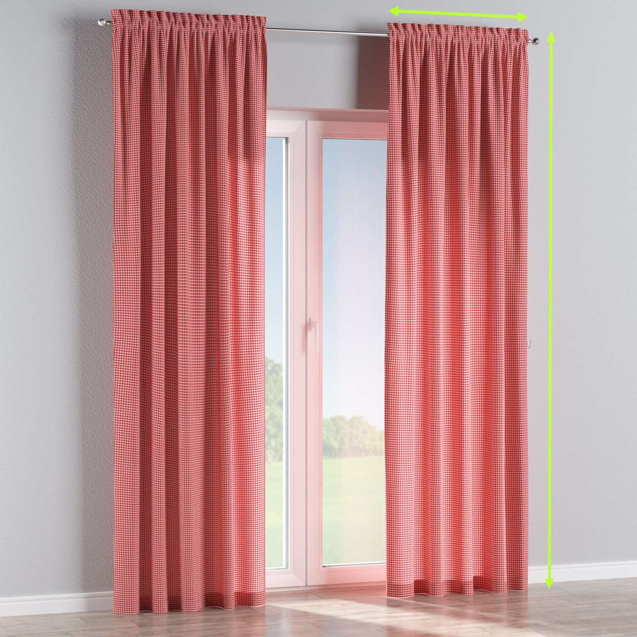 Slot and frill lined curtains in collection Quadro, fabric: 136-15