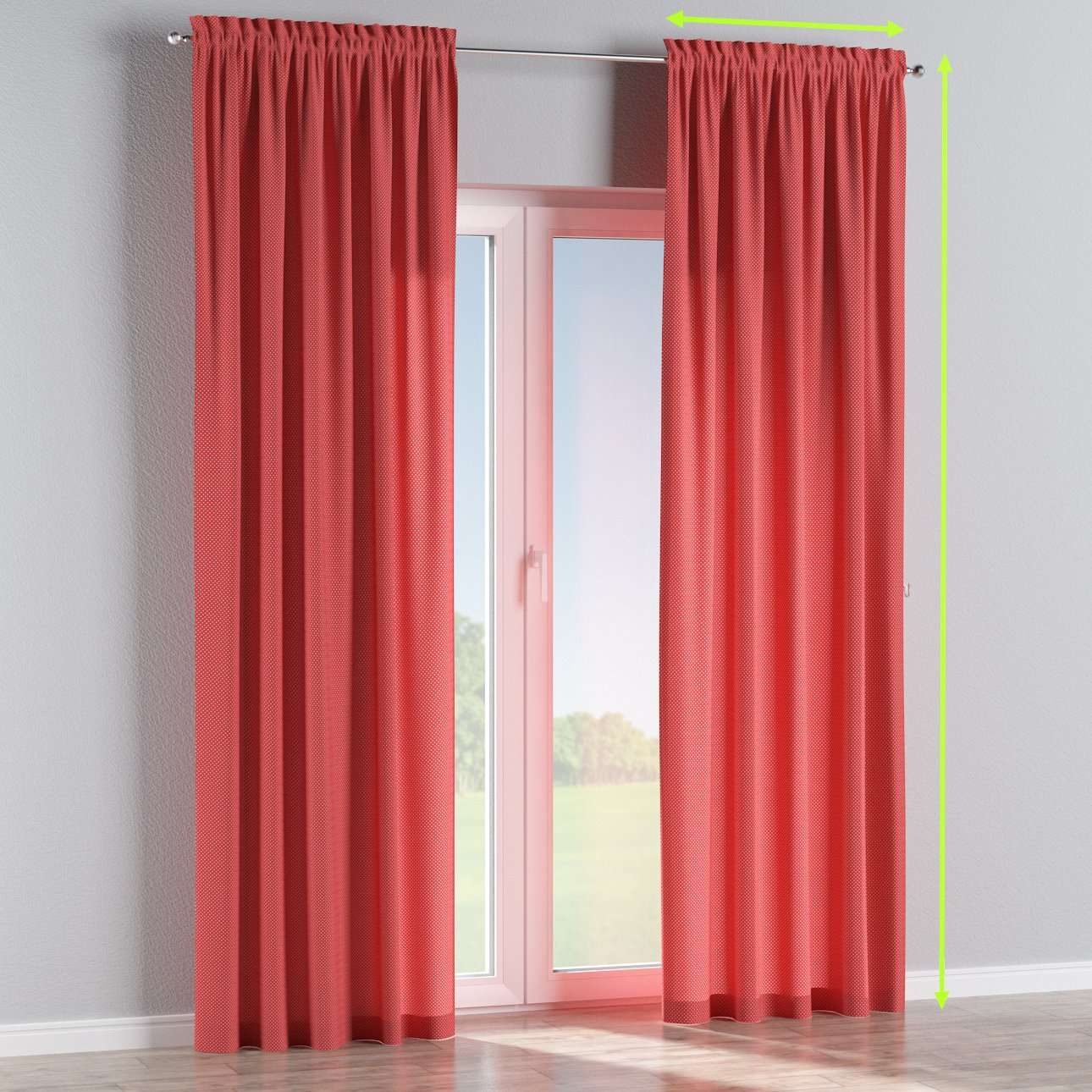 Slot and frill lined curtains in collection Ashley, fabric: 137-50