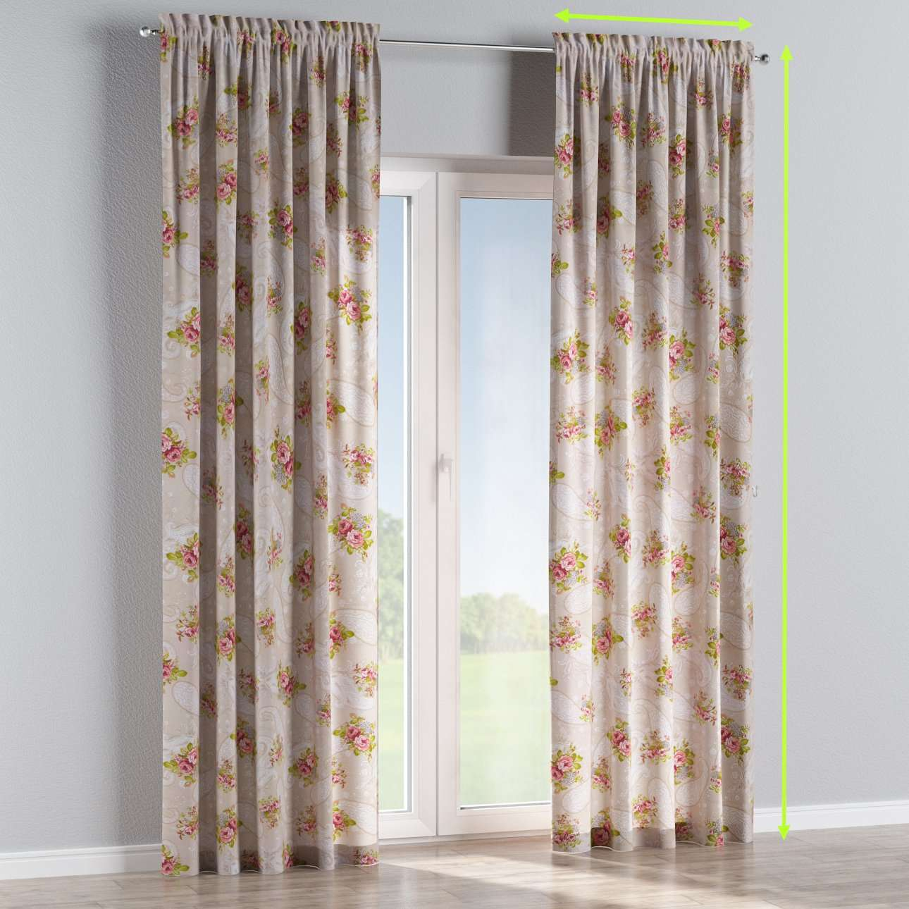 Slot and frill lined curtains in collection Flowers, fabric: 311-15