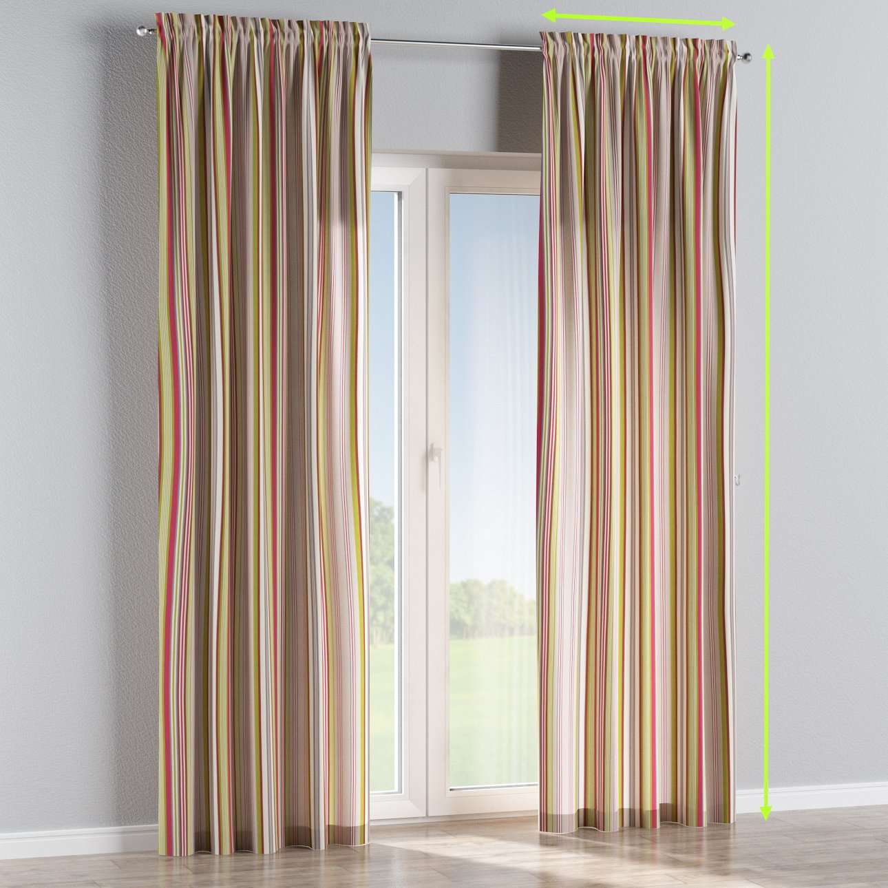 Slot and frill lined curtains in collection Flowers, fabric: 311-16