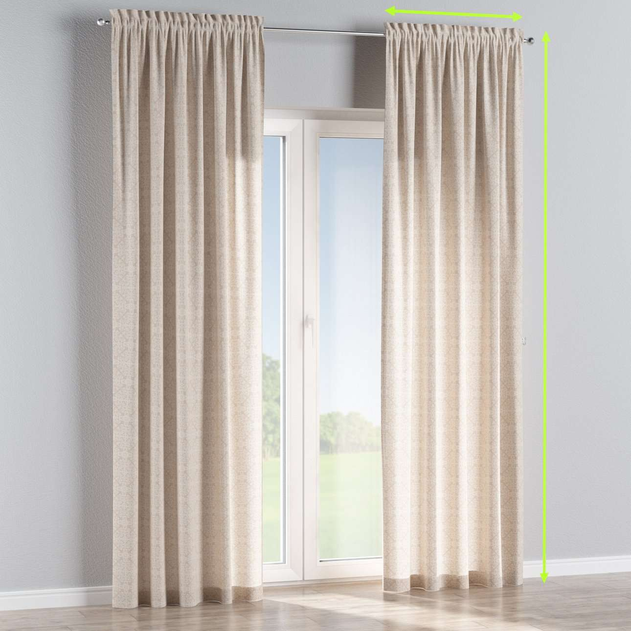 Slot and frill lined curtains in collection Flowers, fabric: 140-39