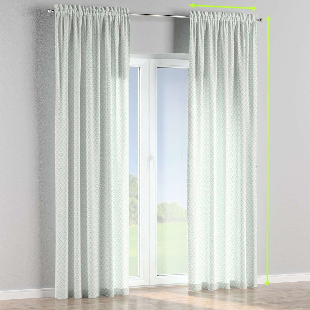 Slot and frill lined curtains in collection Geometric, fabric: 141-47