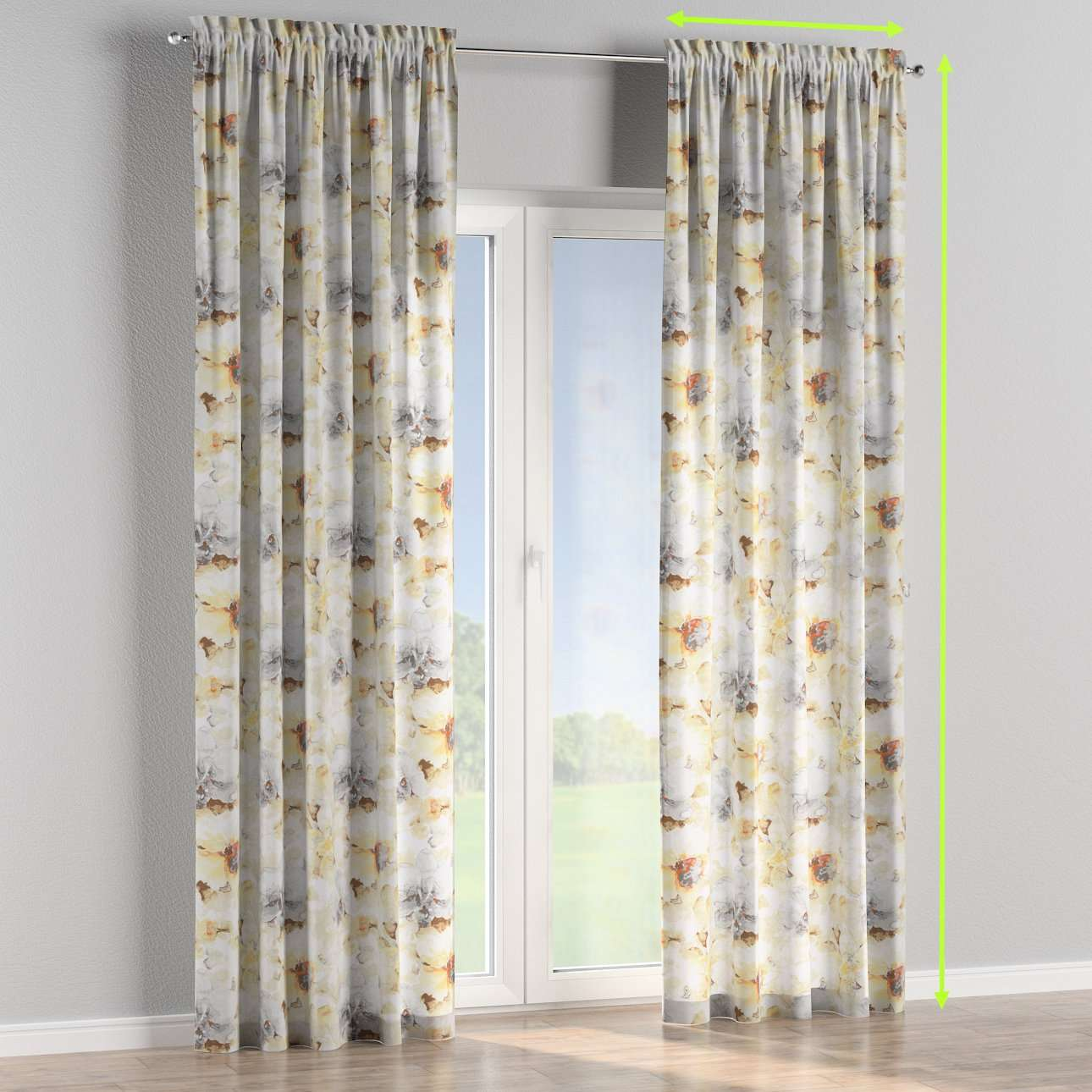Slot and frill lined curtains in collection Acapulco, fabric: 141-33
