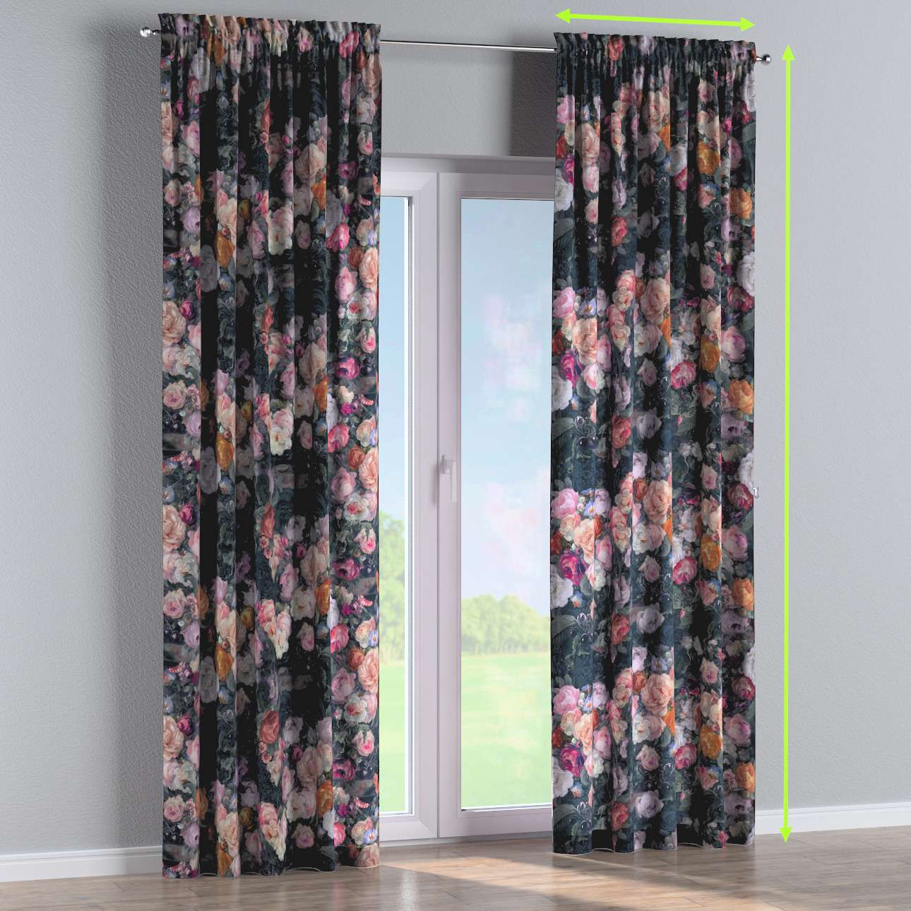 Slot and frill lined curtains in collection Gardenia, fabric: 161-02