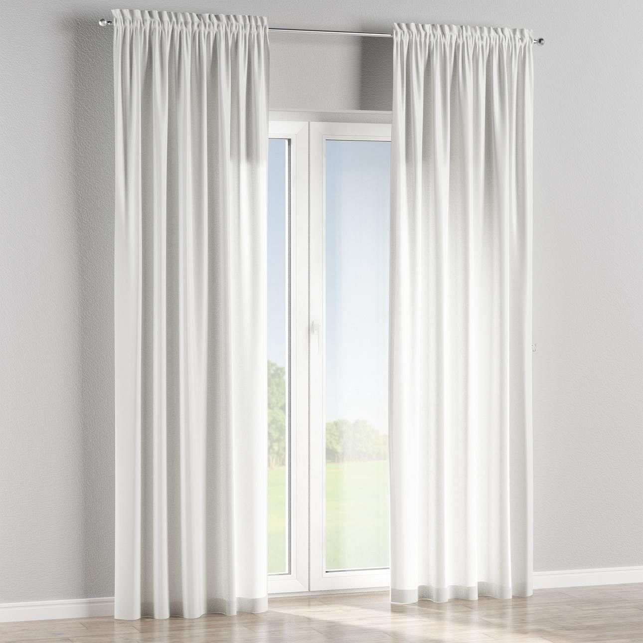 Slot and frill lined curtains in collection Flowers, fabric: 303-01