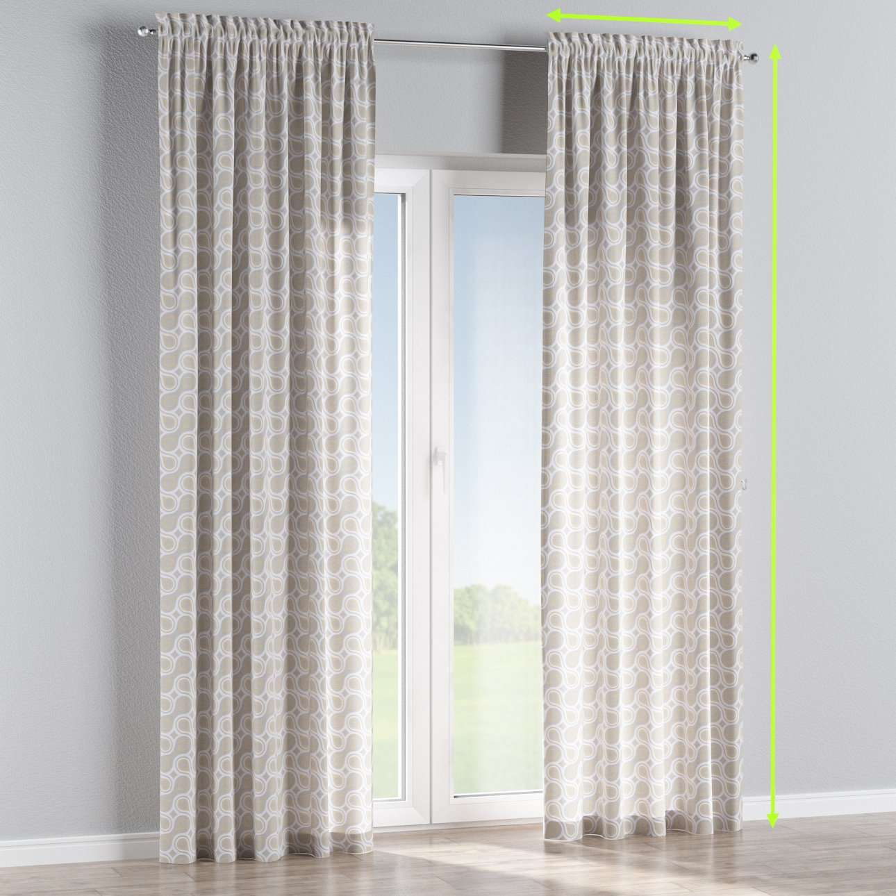 Slot and frill lined curtains in collection Flowers, fabric: 311-11